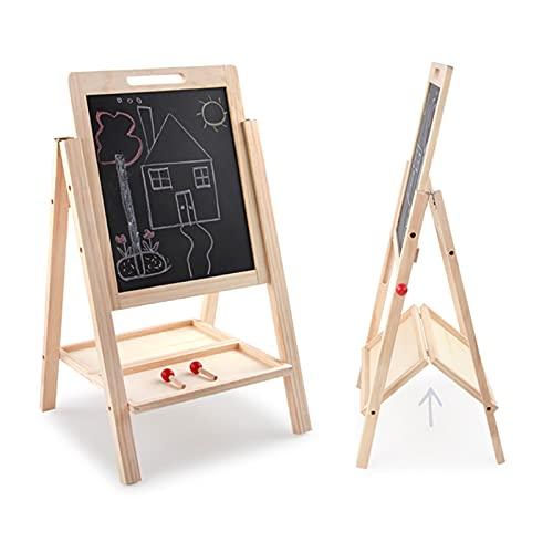 Peng sounded Pizarra de madera de doble cara caballete de pie pizarra de escritura escritorio educativo dibujo juguete aprendizaje BlackboardWoodfor Home