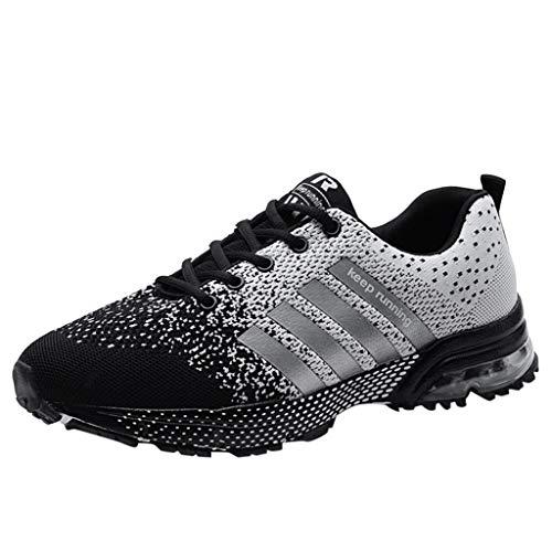 JURTEE Sneaker Damen, Laufschuhe Turnschuhe Straßenlaufschuhe Sneaker Mit Snake Optik Damen Herren Sportschuhe Laufen Athletic Shoes Sportschuhe(43 EU,Grau)