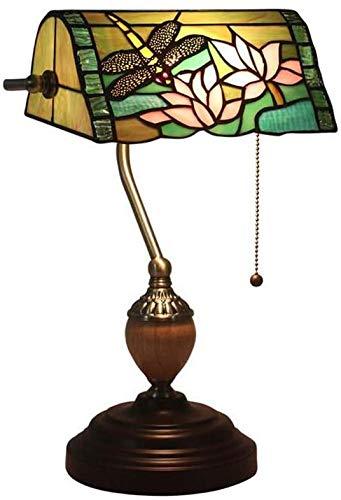 DALUXE Tischleuchte Tiffany Lampe von Hand in gefärbtem Glas Libelle förmigen Lampe kreative Tabelle Retro Nachttischlampe gemacht