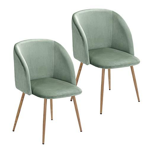 Vittorio meda Samt Sessel Küche Stühle Skandinavisches Retro Wohnzimmer Stühle mit Metall Beine für Schlafzimmer, Esszimmer (Grün, 2)