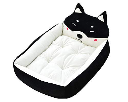 Cama de Perrera Dibujos Animados Almohada Rectángulo para Mascotas Cómodo Mascota Gato y Perro Cama Negro S