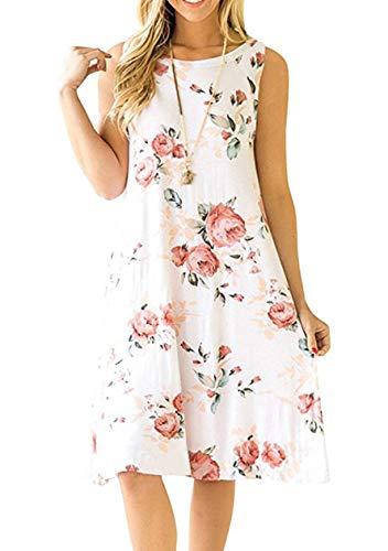 TYQQU Damen Legeres Kleid Von Sommerkleid Mit Tasche Bedrucktes Kleid Weiß Rot Blume XL