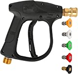 ZHUOMI Pressure Washer Gun,Spray Nozzle Home Power Washer Gun with 5 Nozzles,Hose Reel and Brush for Cars/Fences/Garden/Deck Cleaning