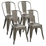 Flamaker Metal Dining Chairs Stackable Kitchen Dining Chairs Metal Chairs Bistro Cafe Side Chairs Height Restaurant Chairs Tolix Side Bar Chairs, Set of 4 (Gun)