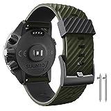 ANBEST Correa de repuesto compatible con Suunto 7/Suunto 9, 24 mm, de silicona, para reloj Suunto 9 baro/Spartan Sport/D5 Smart Watch, color verde militar y negro