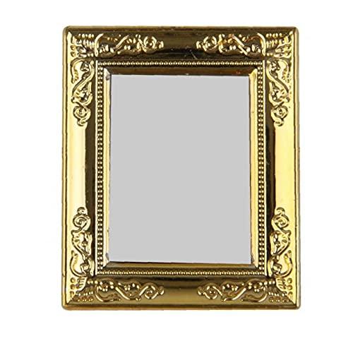 Ruluti 1/12 hus miniatyr spegel med guldram