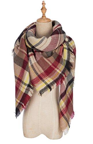 POSESHE Large Tartan Fashion Women Scarf Lovely Best Gift Scarf Wrap Shawl,G Black Claret,One Size