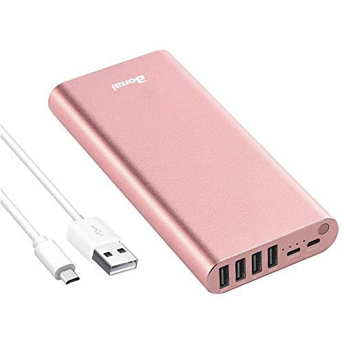 BONAI Caricabatteria Portatile 23800mAh Power Bank, Batteria Esterna in Polimero di Alluminio con 4 uscite USB per Smartphone
