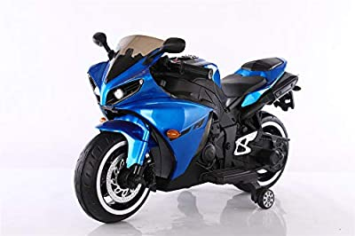 TAMCO Kids Electric Motorcycle with Training Wheels, Light Wheels ,Ride On Motorbike, Speed by Hand, Music Function, Max Load 66LB (Blue) from TAMCO