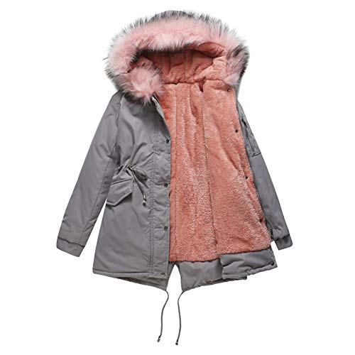 Derrick Aled(k) zhuke Increased Fur Collar and Thicker Women's Cotton-Padded Coat, Mid-Length Hooded Winter Warmth Plus Fleece Coat and Cotton Padded Coat Gray Pink