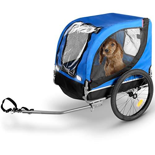 Bicycle gear - Hundeanhänger/Hundefahrradanhänger klappbar - Fahrradanhänger für Ihre Haustiere - 40 kg - 75x52x65cm - Blau/Schwarz