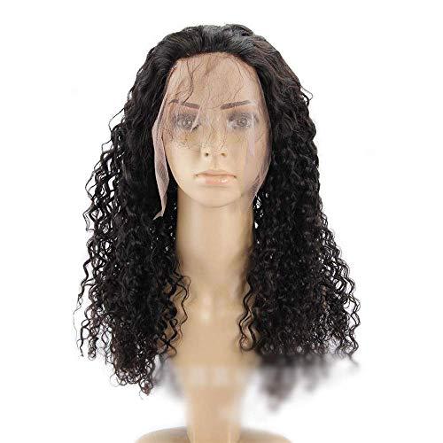 Pelucas Moda Femenina 360 Cordn Cierre Frontal 100% Humano Cabello Negro Brasileo Onda Profunda del Pelo Rizado 10 pulgadas-22 Pulgadas (Color: Negro, Tamao: 14 Pulgadas) ZDWN