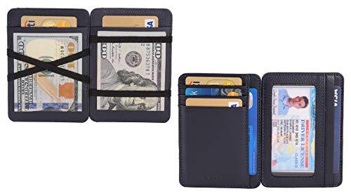 AULIV Card Holder Leather Magic Wallet RFID Blocking Slim Minimalist Front Pocket Credit Card Case for Men Women (Navy Blue)