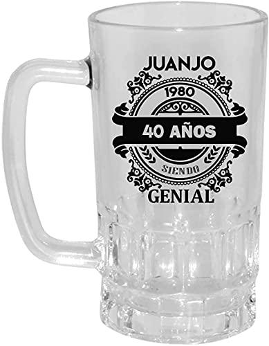 Kembilove Jarra de Cerveza Personalizada y grabada con el nombre – Regalos Originales para Cumpleaños – Con Frase 40 Años siendo Genial