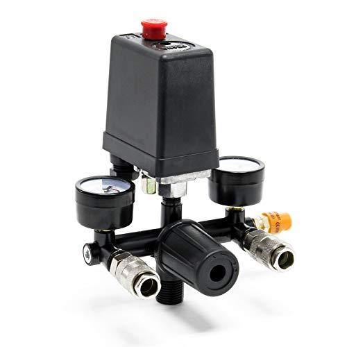 Wiltec Druckregler mit Druckschalter für Kompressor mit 2 Anzeigen