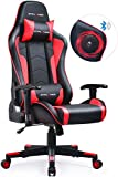 GTPLAYER Gaming Stuhl mit Lautsprecher Bürostuhl Schreibtischstuhl Musik Audio Gamer Stuhl Drehstuhl Ergonomisches Design PC Stuhl Multi-Funktion E-Sports Chefsessel (Rot)