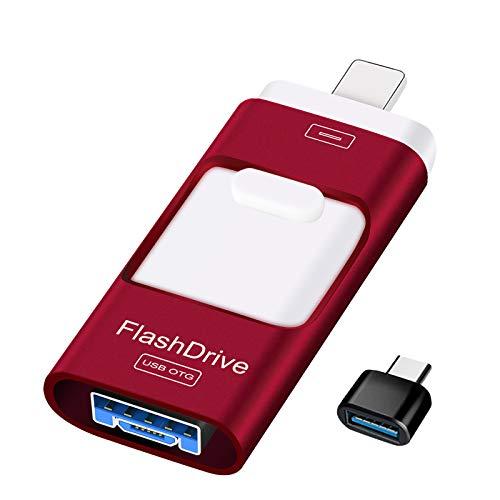 Sunany Clés USB 128 Go Flash Drive pour iPhone Clé USB Externe DataTraveler 4 en 1 Photostick Clé USB OTG pour Smartphone USB C Mirco Android et PC (Rouge)