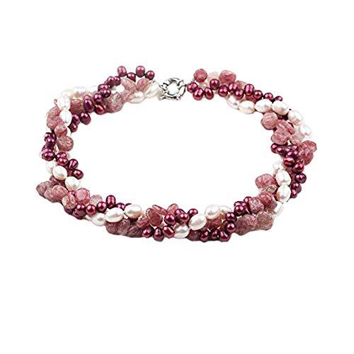 TreasureBay FAB Halskette mit Achat-Edelstein, Kristall-Perlen und elegantem Cluster weiße Süßwasserperlen, Länge 48 cm