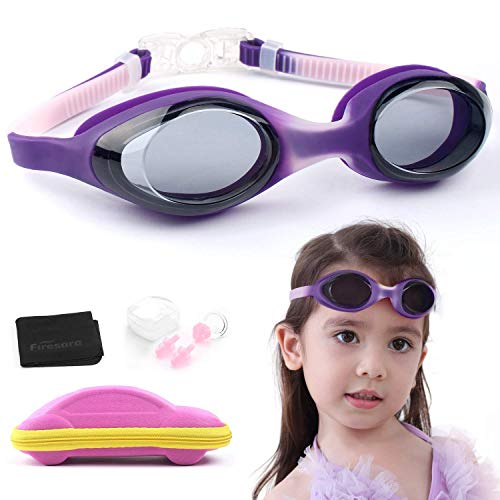 Firesara Swim Goggles, Kids Swimming Goggles- Adjustable Straps(Age 4-12)