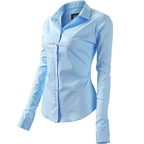 FLY HAWK Bluse Hemdbluse Damen Hemd Basic Kent-Kragen Elegant OL Work Slim Fit Langarm Stretch Formelle Hemden,Hellblau, Größe 38, Hersteller - 10