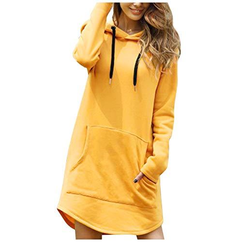 Janly Clearance Sale Blusa de manga larga para mujer, larga, suelta, informal, con cordón, con bolsillo grande, para mujer, blusa de color liso para regalos de Pascua., amarillo, L