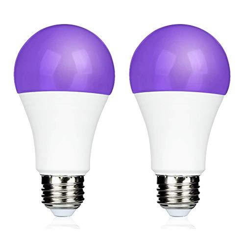 9W E27 UV LED als Deko Licht, UVA 395NM mit Schwarzlichteffekt, Schwarzlichtbirne E27 UV Lampe, AC 85-265V, 270 Grad UV-Effekt für Partykeller/Neonparty/Bodypaint/Bar/Geburtstag, 2er-Set