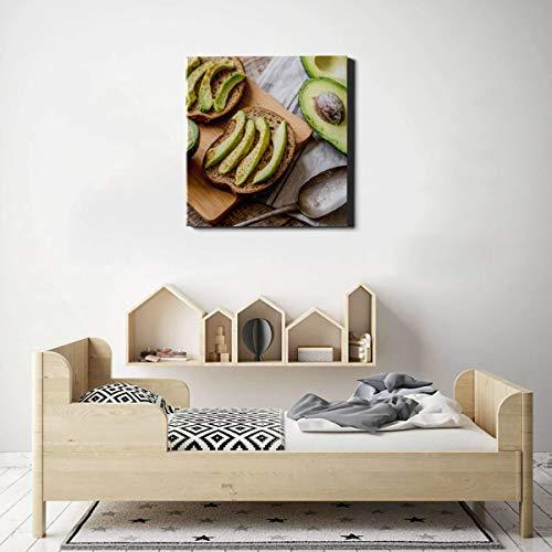 XiexHOME Wandkunst für die Küche Duftende und attraktive Avocado-Leinwand Wandfarbe Druck auf Leinwand 50 x 50 cm (20 x 20 Zoll) Wandkunst Bilder für Wohnzimmer Schlafzimmer Dekoration