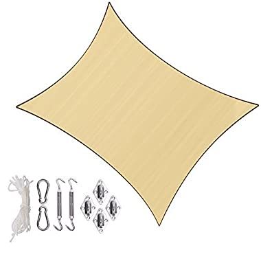 Sunlax 10' x 13' Sand Color Rectangle UV Block Sun Shade Sail Canopy with Stainless Steel Hardware Kit for Patio and Outdoor