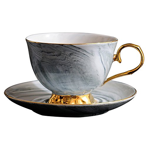 coffeelovershop Tasse Teetasse Kaffeetasse mit Untertasse Set Marmor Tasse Grau Goldener Henkel edel | 300ml Keramik