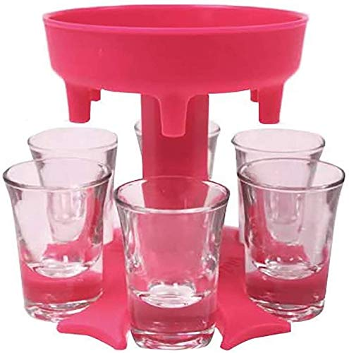 Dispensador de 6 vasos de chupito y dispensador de soporte, soporte para colgar gafas, soporte para barra y dispensador de cócteles