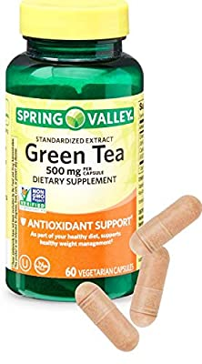Green Tea Capsules 500mg (60 ct) from Spring Valley with Bonus 'No Fluff' Supplement Guide