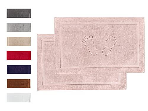 Komfortec Lot de 2 tapis de bain en tissu éponge lavable 800 g/m² et 100 % coton absorbant et à séchage rapide Rose 50 x 80 cm