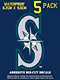 A&A Global 5 Pack Vinyl Decal Sticker Set, 3 x 3 inch Major League Baseball Emblem (Seattle Mariners)