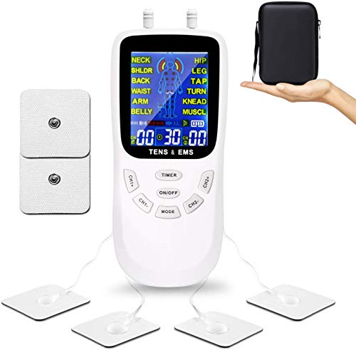 TENS Unit Muscle Stimulator for Pain Relief Therapy, Dual Channels Electronic Pulse Massager EMS Deivce with Travel Hard Case