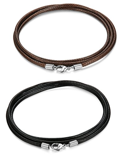 FIBO STEEL 2 Pcs 2.5MM Leather Chain Necklace for Men Women Braided Necklace Chain,24 inches