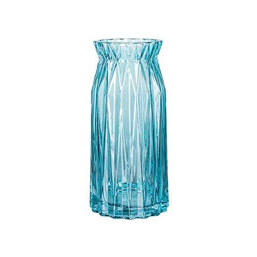 Jarrón De Vidrio De 11 * 11 * 24 Cm, Jarrón Moderno Lirio Flores Secas Jarrón Rayas Verticales Jarrón De Cristal, Selección Multicolor(Size:11 * 11 * 24CM,Color:Azul)