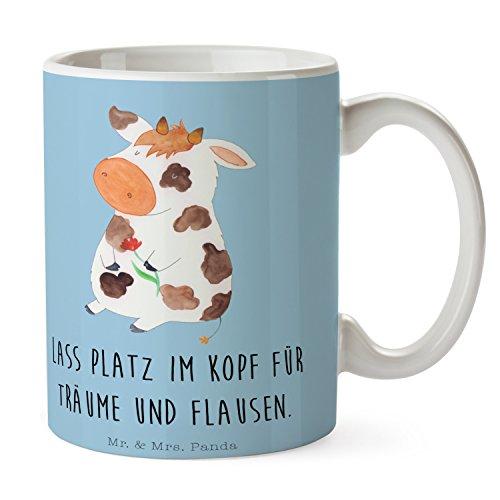 Mr. & Mrs. Panda Teetasse, Kaffeetasse, Tasse Kuh mit Spruch - Farbe Blau Pastell