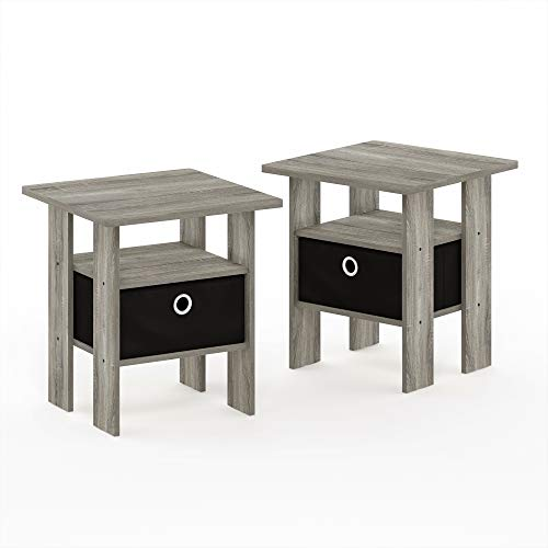 FURINNO End Table Nightstand Set, Wood, French Oak Grey, One Size