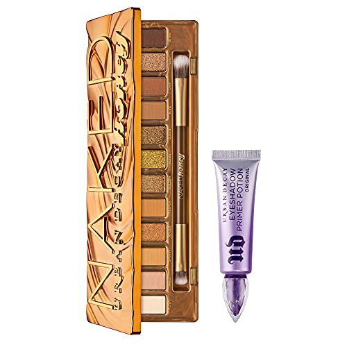 Urban Decay Eye Makeup Set - Naked Honey Eyeshadow Palette + Full Size Eyeshadow Primer Potion - For All-Day, Crease-Free Eyeshadow