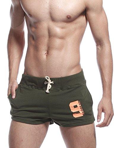 SEOBEAN Herren Low Rise Sport Weiche Running Training Short Pants Medium / 71-76cm, 2301 Army Green