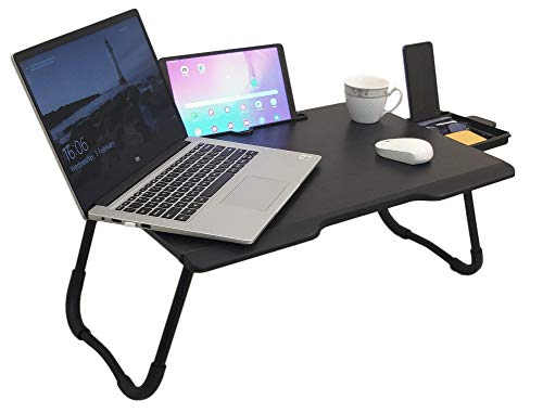 Savya home® Multi-Purpose New Laptop Table/Bed Table/Wooden Foldable Bed Table/LAPDESK/Study Table/Portable Table (Black Silver)