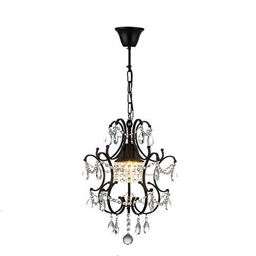 YIKUI Suspension, Fil De Fer Barbelé Et Lampe Moderne avec Abat-Jour en Métal Cristal, Diamètre 41 Cm, Noir, 1 * E27, Efficacité Énergétique A ++