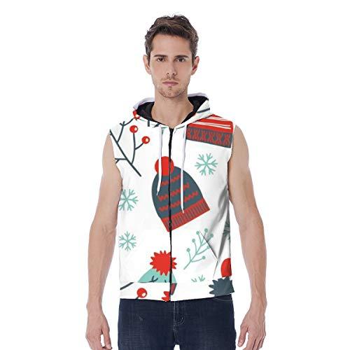 T-ara tendencia líder Sudadera con capucha for hombres Navidad Nieve y sombrero Impreso con capucha con capucha con capucha entera con cremallera sin motor Imprimir Unisex Espesar Sudaderas con bolsil
