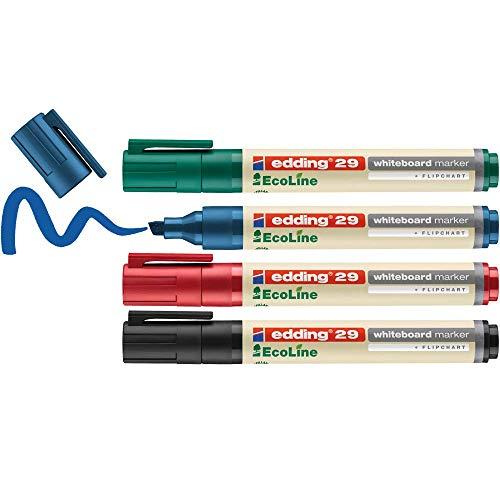 edding 29 Ecoline Whiteboardmarker Set - bunte Farben - 4 Whiteboard Stifte - Keilspitze 1-5 mm - Boardmarker abwischbar - Whiteboard, Flipchart, Magnettafel, Memoboard - Sketchnotes - nachfüllbar