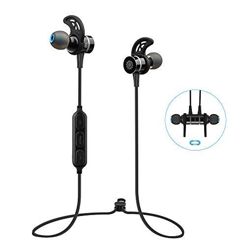 Auriculares Bluetooth Inalámbricos 4.0 Estéreo Deportivos, Auriculares Magnéticos con Micrófono Integrado para iPhone, iPad, LG, Samsung y Otros Teléfonos Móviles Android