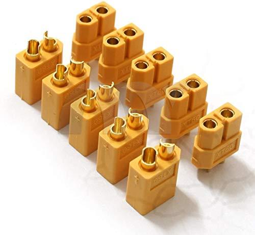 YUNIQUE FRANCE 10 Pièces (5 Paires) Haut Courant Nylon Xt60 Connecteur de Batterie Prise d'or