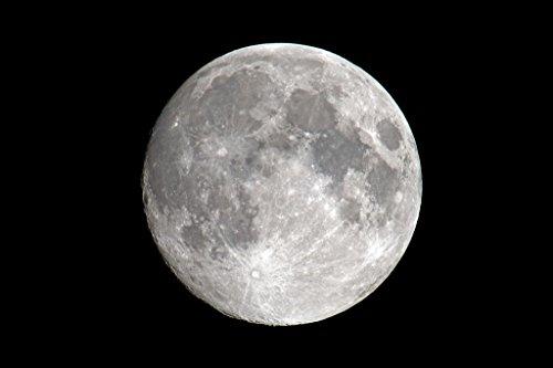 Full Moon Night Sky Black White Vivid Detail Photo Cool Wall Decor Art...