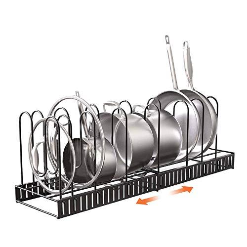 Porta Padelle e Pentole Regolabile Organizer Cucina Pentole in Metallo Espandibile con 8 scomparti per Armadietti da Cucina,Padelle e Pentole (Scalabile orizzontale (8 scomparti))
