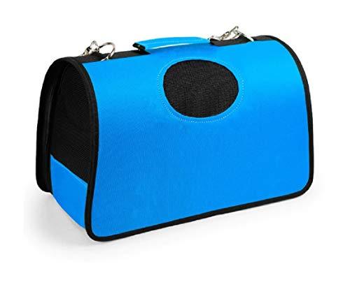 Lalia Hundebox Katzenbox Haustier Transportbox klappbare Autobox 40x25x26 cm gepolstert Katzen Henkel Tragetasche weich stabil Hunde Box (Blau, L (50x22x30cm))