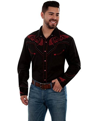 Scully Western Shirt Mens L/S Candy Cane Piping 4X Black F0_P-876